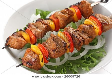 shish kebab on skewers