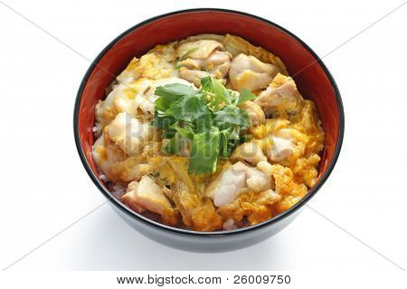 oyakodon , a bowl of rice with chicken and eggs , japanese dish poster