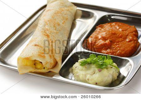masala dosa, crispy crepe stuffed spiced potatoes, south indian food poster