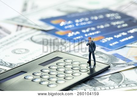 Credit Card Debt, Financial Problem Or Loan Payment Concept, Miniature People Businessman Standing A