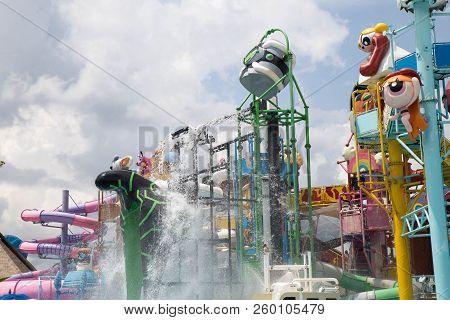 Cartoon Network Amazone Water Park, Pattaya, Thailand : March 2017 - Famous Cartoon Water Park By Ca