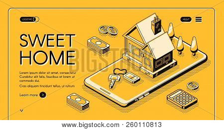 Real Estate Agency Service Vector Illustration In Isometric Thin Line On Yellow Halftone Background.