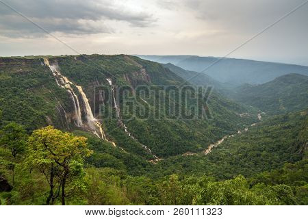 Cherrapunjee, Meghalaya, India. ?eautiful panorama of the Seven Sisters waterfalls near the town of Cherrapunjee in Meghalaya, North-East India.
