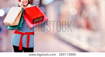Black Friday And Boxing Day. Shopping Gift And Present On Holiday. Teenager Women Holding A Shopping