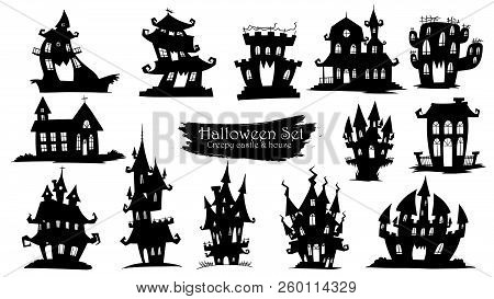 Spooky Castle Silhouette Collection Of Halloween Vector Isolated On White Background. Scary, Haunted