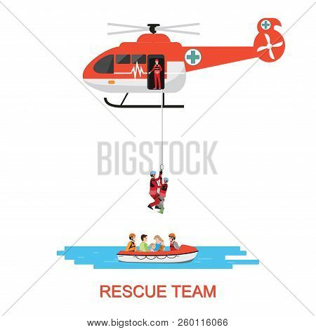Rescue Team With Rescue Helicopter And Boat Rescue In Mission Rescue At Sea Or Flood, Isolate On Whi