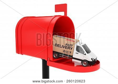 White Commercial Industrial Cargo Delivery Van Truck Loaded With Cardboard Box With Free Shipping Si