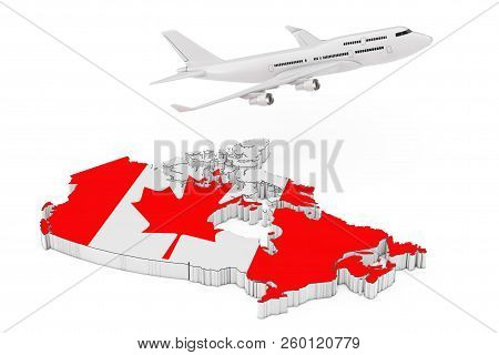White Jet Passenger's Airplane Flying Over Canada Map With Flag. 3D Rendering