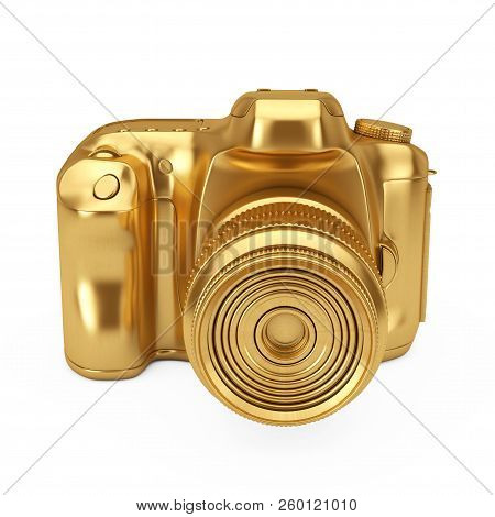Photography Award Concept. Golden Award Digital Photo Camera On A White Background. 3d Rendering.