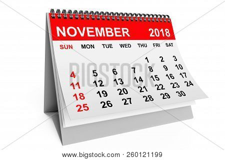 2018 Year Calendar. November Calendar On A White Background. 3d Rendering