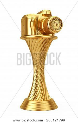 Photography Award Concept. Golden Award Trophy Modern Digital Photo Camera On A White Background. 3d