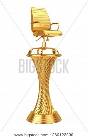 Business Award Concept. Golden Award Trophy Boss Office Chair On A White Background. 3d Rendering.