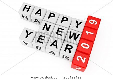 New 2019 Year Concept. Happy New Year 2019 Sign As Crossword Blocks On A White Background. 3d Render