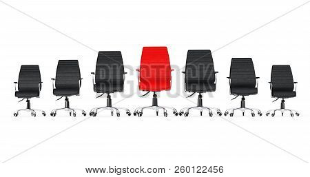 Red Leather Boss Office Chair Between Other Black Chairs On A White Background. 3d Rendering.