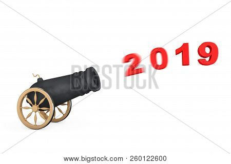 New 2019 Year Sign Shoot From Cannon On A White Background. 3d Rendering