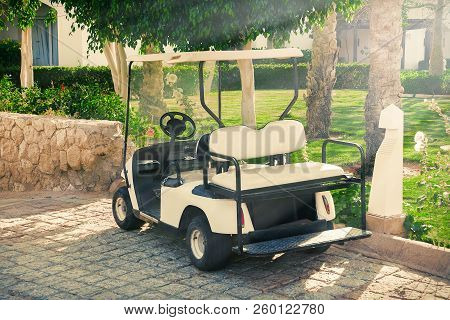 Buggy Car Or Golf Cart Waiting Clients In Hotel Extreme Closeup