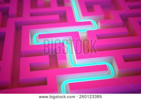 Blue Neon Path Across Endless Labyrinth. Success, Perspective Vision, Business Strategy And Marketin