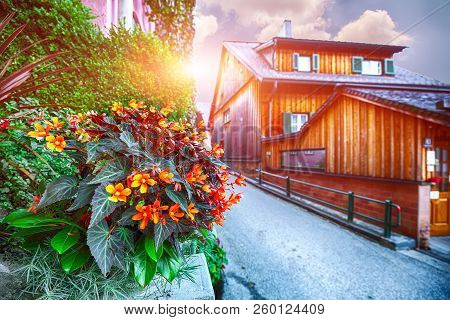 Scenic View Of Famous Hallstatt Mountain Village With Hallstatter Lake.typical Austrian Alpine House