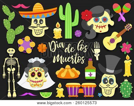 Dia De Los Muertos. Day Of The Dead Traditional Mexican Holiday Elements Set. Paper Cut Style Flat I
