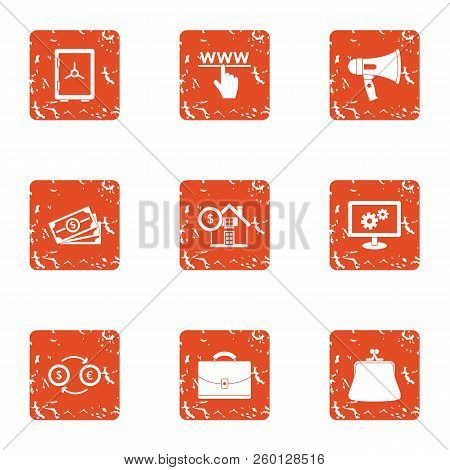 Www Cash Icons Set. Grunge Set Of 9 Www Cash Icons For Web Isolated On White Background