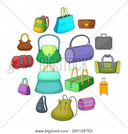 Different Bagage Icons Set. Cartoon Illustration Of 16 Different Bagage Icons For Web