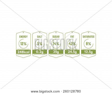 Nutrition Labels For Food Packages. Energy, Fat And Sugars, Saturates And Salt Amount. Green Labels