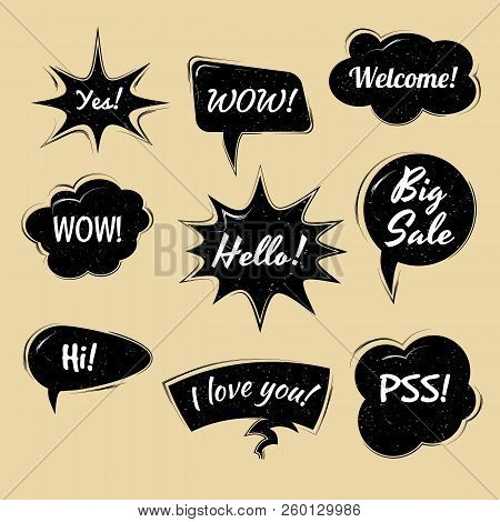 Set Of Cartoon, Comic Black Speech Bubbles. Clouds With In Pop Art Style. Vector Illustration For Co