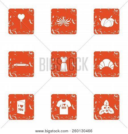 Lust Icons Set. Grunge Set Of 9 Lust Icons For Web Isolated On White Background