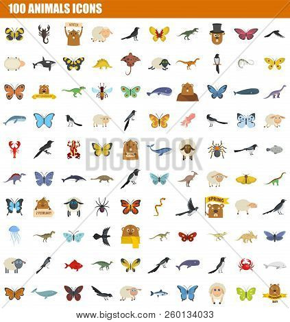100 Animals Icon Set. Flat Set Of 100 Animals Icons For Web Design