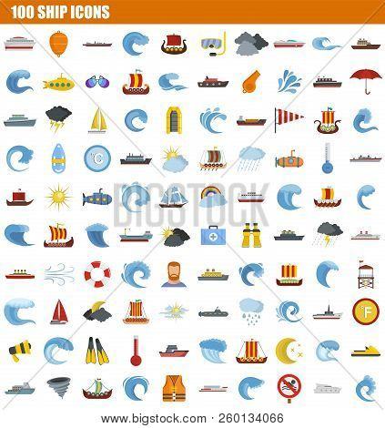100 Ship Icon Set. Flat Set Of 100 Ship Icons For Web Design