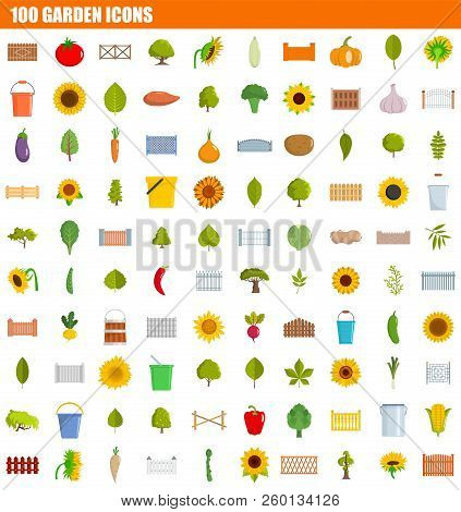 100 Garden Icon Set. Flat Set Of 100 Garden Icons For Web Design