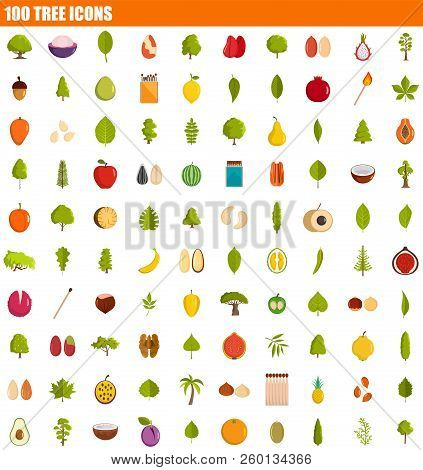 100 Tree Icon Set. Flat Set Of 100 Tree Icons For Web Design
