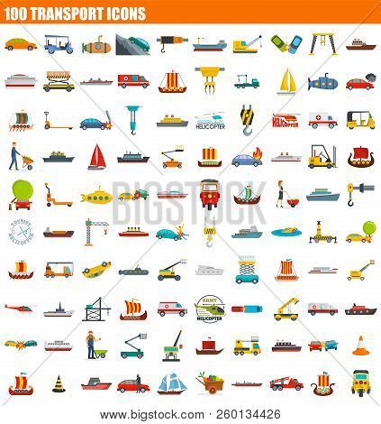100 Transport Icon Set. Flat Set Of 100 Transport Icons For Web Design