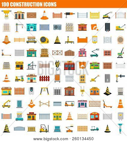 100 Construction Icon Set. Flat Set Of 100 Construction Icons For Web Design