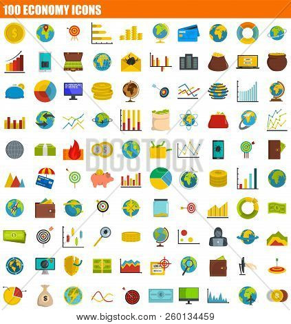 100 Economy Icon Set. Flat Set Of 100 Economy Icons For Web Design