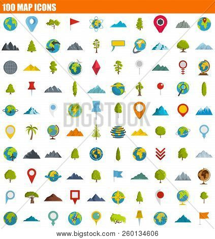 100 Map Icon Set. Flat Set Of 100 Map Icons For Web Design