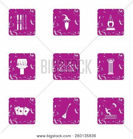 Magical Journey Icons Set. Grunge Set Of 9 Magical Journey Icons For Web Isolated On White Backgroun