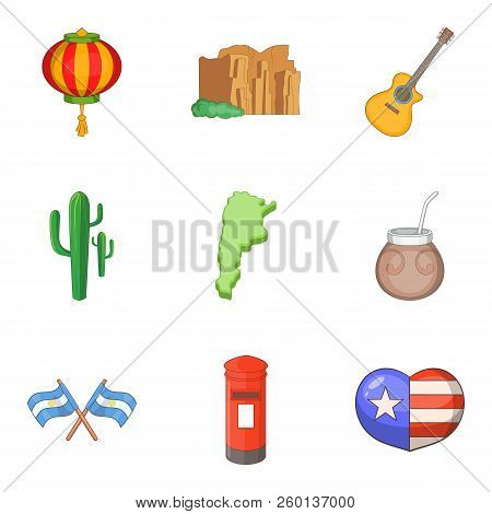 Continental Journey Icons Set. Cartoon Set Of 9 Continental Journey Icons For Web Isolated On White