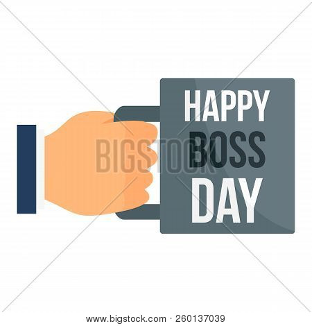 Happy Boss Day Cup Icon. Flat Illustration Of Happy Boss Day Cup Icon For Web Design