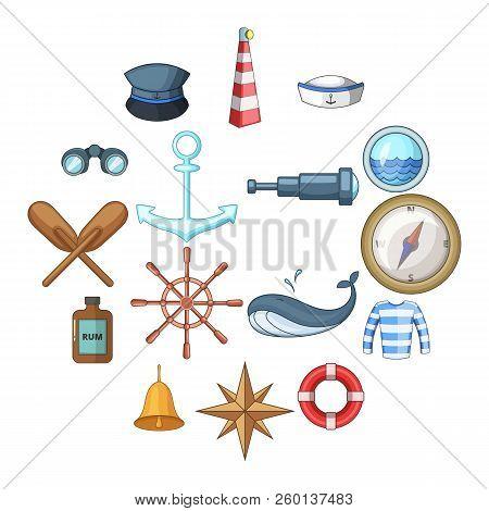 Nautical Icons Set. Cartoon Illustration Of 16 Nautical Icons For Web