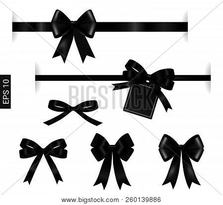 Black Ribbon With Tag Element On White For Decoration