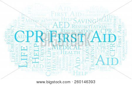 Cpr First Aid Word Cloud, Made With Text Only
