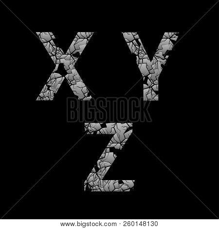 Silver Broken X Y Z Letters, Old Cracked Letters. Vector Illustration