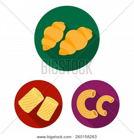 Types Of Pasta Flat Icons In Set Collection For Design. Figured Macaroni For Eating Vector Symbol St