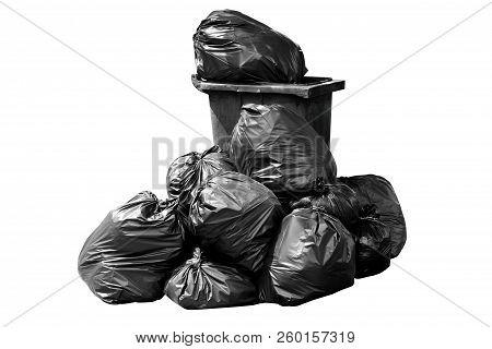 Bin,trash, Garbage, Rubbish, Plastic Bags Pile, Bin Bag Garbage Dark Black Isolated On Background Wh