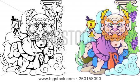 Cartoon Greek God Dionysus, Funny Illustration, Coloring Book