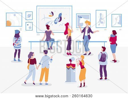 Art Gallery With Visitors Looking At Paintings Vector Flat Illustration. People At The Exhibition Ca