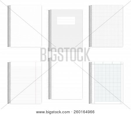 Set Of Wire Bound Notebooks, Vector Mock Up. Metal Spiral Binding Note Books, Mock Up. Loose Leaf Le