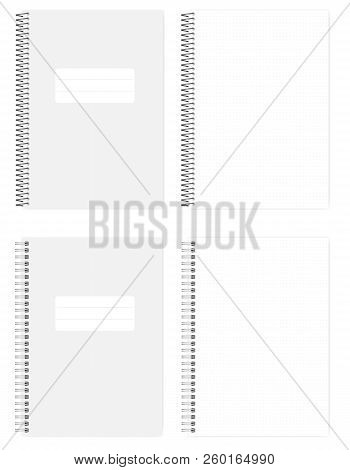 Wire And Spiral Spring Bound Dot Grid Notebook, Realistic Vector Mockup. A4 Size Notepad, Mock Up. L
