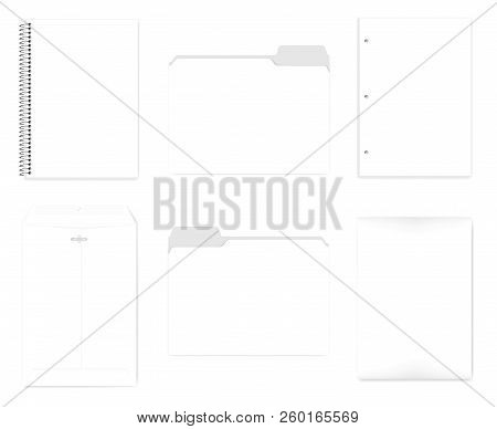 Wire Bound Notebook, File Folders With Cut Tab, Hole Punched Filler Paper For 3 Ring Binder, Envelop